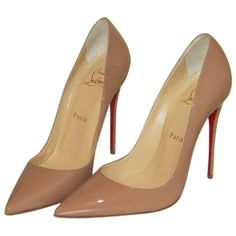 Pre-owned Christian Louboutin So Kate 120 Nude Patent Pumps ($765) ❤ liked on Polyvore featuring shoes, pumps, heels, zapatos, nude patent, christian louboutin pumps, nude patent leather pumps, stiletto shoes, red sole pumps and stiletto pumps
