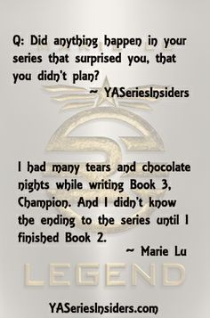 What happened in the Legend series that Marie Lu didn't plan?