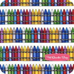 Back to School White Crayons Yardage SKU# C9076-WHITE