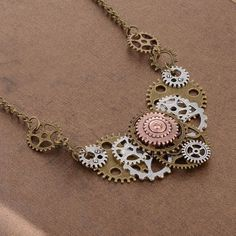 2016 Best Selling Different Gears Hand Connected DIY Steampunk Necklace Vintage Fashion Jewelry