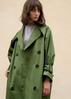 Green Double Breasted Marble Button Classic Trench Coat – The Frankie Shop