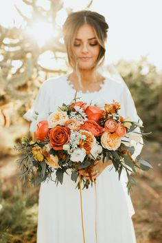 I just thought this bouquet looked like all of your colors! So pretty! Burnt Orange Weddings, Orange Wedding Flowers, Bridal Flowers, Floral Wedding, Wedding Colors, November Wedding Flowers, Burnt Orange Bridesmaid Dresses, Peach Weddings, Wedding Ideas