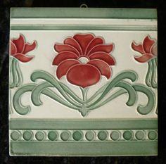 Jugendstil Fliese Art Nouveau Tile Tegel s O F Somag Blüte Rot SCHÖN Interessant | eBay