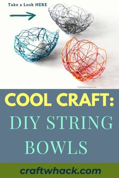 Craft Whack has done it again with this Cool Craft: DIY String Bowls. These bowls made from embroidery floss are adorable and unique. Making these bowls is relatively simple and requires the minimum of supplies – embroidery floss, Elmer's glue, was paper, and wooden skewers. Once you've left it to dry overnight, you'll be amazed with the end result. The technique is also an easy affair and you'll find detailed instructions in our article. #StringBowls #CraftingIdeas #ArtsAndCrafts #Crafts #Art