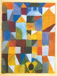 1919 Paul Klee 'Urban Composition with Yellow Windows' [Städtische Komposition mit gelben Fenstern]. Watercolour on paper on cardboard. Franz Marc, Painting Prints, Wall Art Prints, Gouache Painting, Paul Klee Art, Piet Mondrian, Exhibition Poster, Wassily Kandinsky, Oeuvre D'art