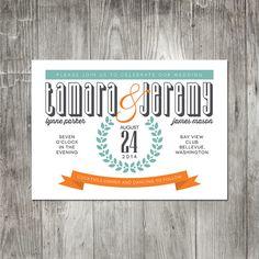 Modern Typography Wedding Invitation by pinklilypress on Etsy