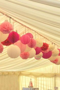 Multiple pink shades – paper lanterns, pom poms and honeycomb balls for a marque… Multiple pink shades – paper lanterns, pom poms and honeycomb balls for a marquee wedding Wedding Lanterns, Marquee Wedding, Wedding Reception Decorations, Wedding Lighting, Party Tent Decorations, Pink Lanterns, Reception Backdrop, Wedding Paper Lanterns, Birthday Decorations