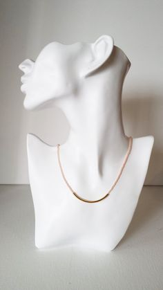 This one strand necklace is made with a light coral seed bead and a gold bar. It is minimalist and very delicate. Available also with silver bar at checkout.  Matching bracelet available here: https://www.etsy.com/listing/236843665/brdisemaid-gift-light-coral-bracelet  ❤ SIZES This item comes in several sizes, kindly choose at checkout. The easiest way to find out which length suits you best is to measure a necklace you already own, from one end to the next, including...
