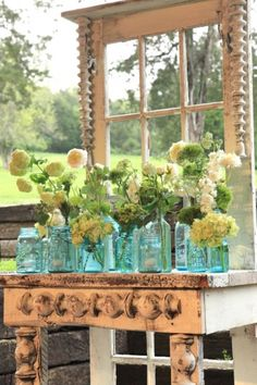 Hydrangeas in blue mason jars