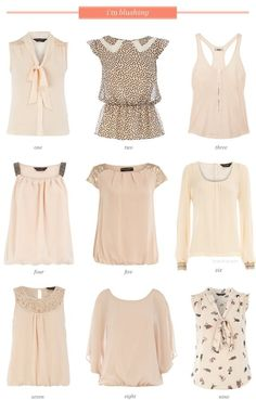 blush tops - a color which i look terrible in, but i like the styles of the tops. Check out the website for Look Fashion, Fashion Beauty, Womens Fashion, Fashion Design, Fashion Trends, Casual Outfits, Cute Outfits, Look Chic, Mode Inspiration