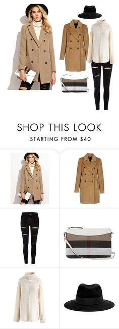 """Camel Pea Coat"" by lifeaccordingtojamie on Polyvore featuring Vero Moda, River Island, Burberry, Chicwish and Maison Michel"