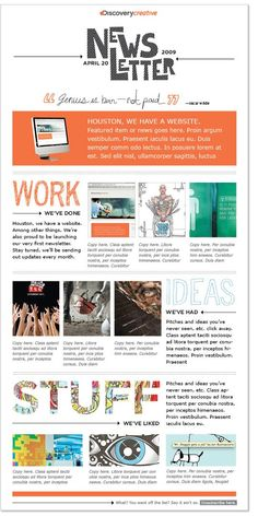 Http: Discover 7 Tips on Crafting Your Own Internal Newsletter for Excellent Employee 7 Tips for Creating An Internal Newsletter That Isnt Boring Newsletter Layout, Company Newsletter, School Newsletter Template, Newsletter Design Templates, Email Newsletter Design, Email Newsletters, Email Design, Newsletter Sample, Class Newsletter