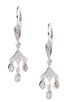 14K White Gold Diamond Chandelier Pendant-Style Earrings