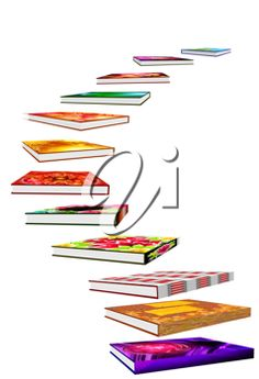 iCLIPART - Clip art illustration of a staircase of books - graduation concept image.