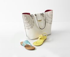 Colorful sandals and detailed totes are a must on the accessories list for spring! This roomy bag, featuring a unique perforated design, will store all your on-the-go necessities. Plus you'll stay comfy and stylish all day in these flats.