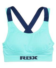 RBX Mint Mist & Navy Seamless Wireless Cross-Back Sports Bra by RBX #zulily #zulilyfinds