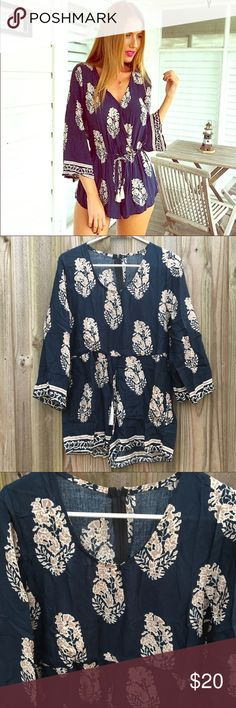 Printed Navy 🍂BOHO🍂Romper Navy and beige cotton broadcloth romper. This adorable boho chic romper has a scoop/v neck with a cute tassel belt that cinches at the waste. Perfect for the beach or brunching with friends in the Fall. Size: Small/Medium. Inquire for measurements if needed! :) Other