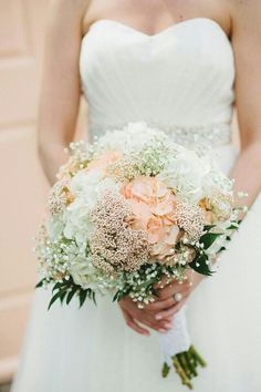 Jumbo Peach & White Hydrangea, White Gypsophila (Baby's Breath), Peach/Pink Stock, & Foliage Are Nicely Arranged In A Lush & Romantic Round Bouquet****