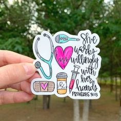 Cute Sticker Cute Sticker <br> This sticker is hand drawn and hand lettered. It would look so cute on a laptop, vehicle, your Bible, or water bottle just to name a few ideas! It would also be the perfect addition to your sticker collection! Nurses Week Quotes, Nurse Quotes, Nurse Sayings, Nursing Memes, Funny Nursing, Nursing Graduation Gifts, Gifts For Nurses, Nursing Student Gifts, Nursing Student Quotes