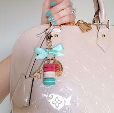 Louis Vuitton alma and Laduree keychain