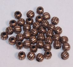 Ant. Copper Corrugated Beads, 5mm 2mm Hole, Leather Cord, Metal Beads, Jewelry beads, Round Beads