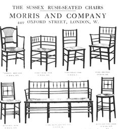 """Sussex Rush-Seated Chairs"". Designed by architect, Philip Webb for Morris & Co. The orginial armchair was designed for William Morris' home (Red House) in 1860. Due to its popularity, the line was expanded. This is a page from their catalogue. The ""Rossetti"" chair is at top left. The bottom left, round-seat chair, was possibly designed by Ford Maddox Brown.  #William_Morris #Morris_and_Co #Arts_and_Craft #chair #Sussex_chair #Sussex_rush #rush_seat #chair #armchair #bench"