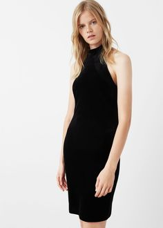 Halter velvet dress - Dresses for Women | MANGO USA