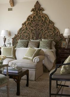 Confessions of a Wannabe Interior Designer Carved wood headboard Bedroom