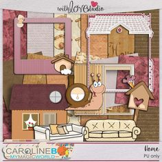 Home - digital scrapbooking mini kit from Caroline B. This soft colors home inspired mini kit will add that special touch to your layout.