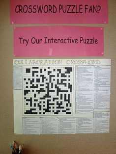 Calling all crossword puzzle fans. Try your skill at our Collaborrative Crossword puzzle posted on the bulletin board in the Teen Area. This interactive puzzle was the brainchild of one our crea… Teen Library Displays, Teen Library Space, Library Work, Library Ideas, Dublin Library, Interactive Bulletin Boards, Library Bulletin Boards, Library Activities, Activities For Teens