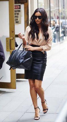 Shay Mitchell Style - Nude long sleeve wrap top by Piece Official, black leather skirt by The Perfext, Steve Madden sandals, and Givenchy handbag #womenswear #style #spring #fall