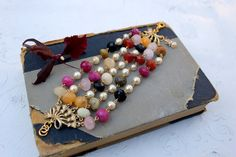 Vintage Inspired Layered Gemstone and Pearl Bracelet~