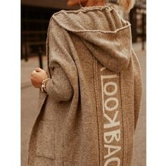 Fashion casual letter print hooded long sleeve coat - veveeye.com Style Casual, Casual Tops, Mode Outfits, Fashion Outfits, Jackets Fashion, Look Kylie Jenner, Woolen Tops, Winter Fashion Casual, Cowls