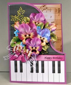 Pretty Pansies Piano Card Mini Kit on Craftsuprint designed by Robyn Cockburn - made by Kristina Norbat - Printed on 250gsm card cutout and layered onto lilac card and folded I then added tiny pearls and diecut bow under lilac bow to complete this stunning design. - Now available for download!