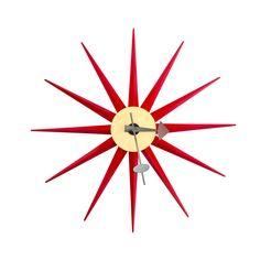 Sol Sunburst Clock in Red | dotandbo.com
