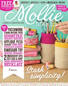 Welcome to a year of fresh beginnings, creativity and craft tutorials in Mollie Makes magazine. Want to learn arm knitting? It's in this issue! Crochet Doily Rug, Free Crochet Bag, Crochet Patterns, Crochet Books, Knitting Patterns, Knitting Magazine, Crochet Magazine, Mini Doughnuts, Mollie Makes