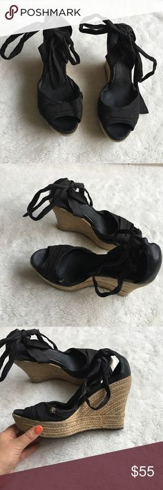 """UGG Black Platform Sandals size 9 Preowned authentic UGG Black Platform Sandals size 9. Heel is 4.5"""" inches. Fabric has worn on Platform and wrap. Please look at pictures for better reference. Happy shopping! UGG Shoes Platforms"""
