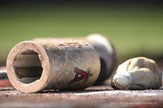 A shot of the Angels batting equipment