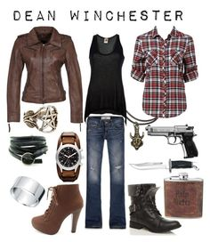 """""""Dean Winchester"""" by shadowsintime ❤ liked on Polyvore featuring Hollister Co., I'm Isola Marras, FOSSIL, Pamela Love, Gipsy, Forever New and Charlotte Russe"""