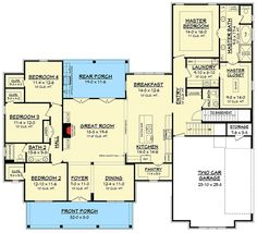 modern farmhouse plan with bonus room 51754hz 1st floor master suite bonus room