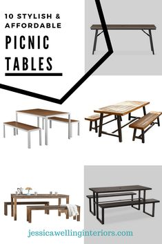 Set up a fun and festive patio dining space in your backyard with one of these stylish and affordable picnic table sets! Outdoor Picnic Tables, Kids Picnic Table, Outdoor Dining Set, Patio Dining, Outdoor Entertaining, Dining Room, Cheap Landscaping Ideas, Backyard Landscaping, Backyard Ideas