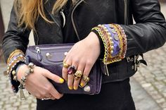 balenciaga clutch-yellow nail polish-bold jewelry