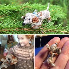 Itsevirkattu pieni sekarotuinen koira 🐶 Venne-lanka ja 0,5mm virkkuukoukku.
