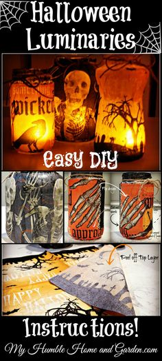 Cheap, Easy, DIY Halloween Luminaries on MyHumbleHomeandGarden.com!