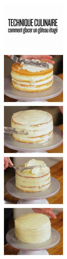 Technique culinaire: comment glacer un gâteau étagé #dessert #video
