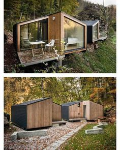 Likes, 26 Comments - Prefab & Small Homes ( on Instagra. - Elzanne Bothma - - Likes, 26 Comments - Prefab & Small Homes ( on Instagra. Unique House Design, Tiny House Design, Modern Design, Design Design, Prefab Cabins, Container Home Designs, Casas Containers, Tiny House Cabin, Forest House