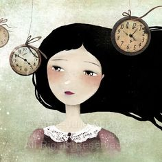 """""""Time Flies"""" by Anne-Julie Aubry (The Nefarious Kingdom - etsy)  Love this! Reminds me of my elusive search for that additional 24-hours-to-each day! :D"""