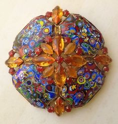 """It measures about 3"""" tall x 3"""" wide. The stones are in excellent condition. Gorgeous piece. California for many years. A lot of these pieces were made by various local artists from the 1960's to the 1990's using both new and recycled components. 