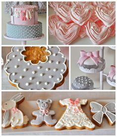 Pink and Gray Baby Shower via Kara's Party Ideas KarasPartyIdeas.com Cake, printables, favors, invitation, recipes, cupcakes, etc! #babyshower #pinkandgray #girlbabyshower