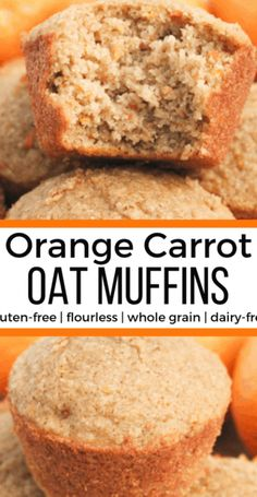Orange Carrot Oat Muffins  gluten-free  flourless  whole grain  dairy-free  low ...  My Pins Orange Carrot Oat Muffins  gluten-free  flourless  whole grain  dairy-free  low sugar  – Mile High Mitts # Muffins Sans Gluten, Dairy Free Muffins, Dairy Free Snacks, Dairy Free Breakfasts, Gluten Free Desserts, Low Sugar Snacks, Dairy Free Recipes For Kids, Low Sugar Breakfasts, Low Sugar Cakes